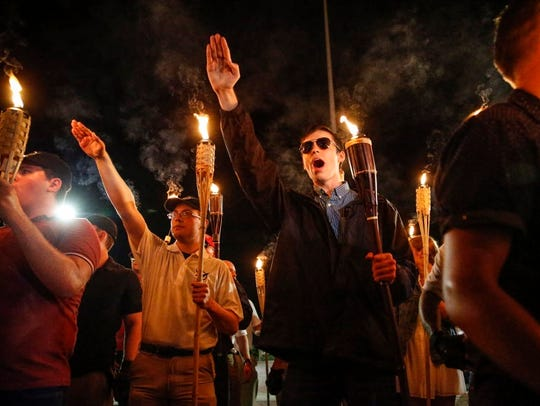 White nationalists with torches march through Charlottesville,
