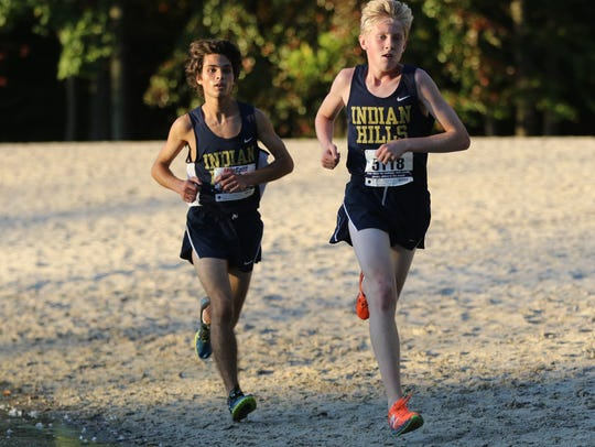 Chris Leymeister (left) and Bobby Oehrlein of Indian Hills look to be among the top runners in Bergen.