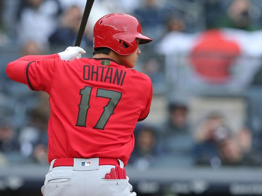 Los Angeles Angels designated hitter Shohei Ohtani (17) bats against the New York Yankees during the fourth inning at Yankee Stadium.