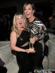 Tonya Harding helped Allison Janney celebrate at January's Golden Globes, where the actress won for playing the skater's mother.