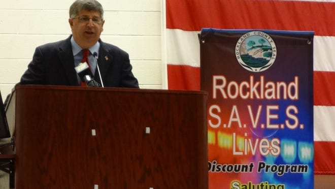 Rockland County Clerk Paul Piperato unveils the Rockland S.A.V.E.S. Lives program.