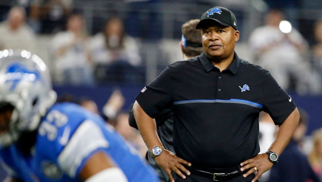 Lions coach Jim Caldwell watches his team warm up before a game against the Cowboys on Dec. 26, 2016, in Arlington, Texas.