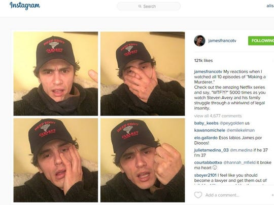 "Actor James Franco posted his reaction to the Netflix series ""Making a Murderer"" on Instagram"