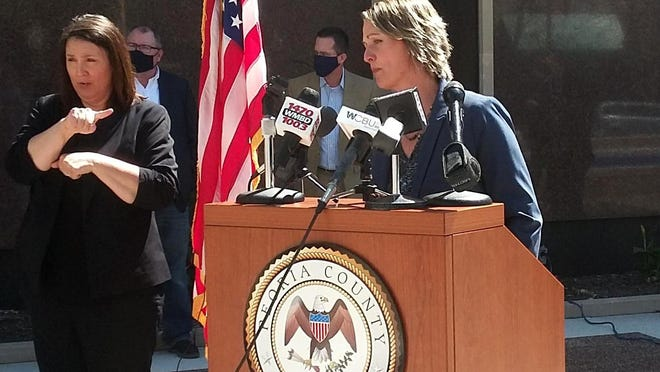 Peoria County State's Attorney Jodi Hoos speaks Friday, June 12, 2020, at a news conference to announce that County Board members will vote next week on a proposal to add a new attorney and social worker in her office to address issues of injustice and inequality.