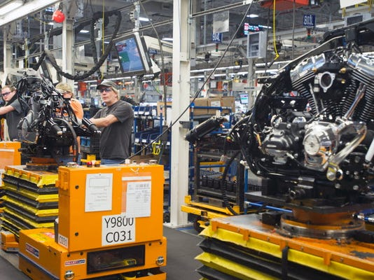 """The """"A leg"""" of the Harley-Davidson assembly line in Springettsbury Township in this December 10, 2012 file photo. Different bikes can be built at the same time on the assembly line."""