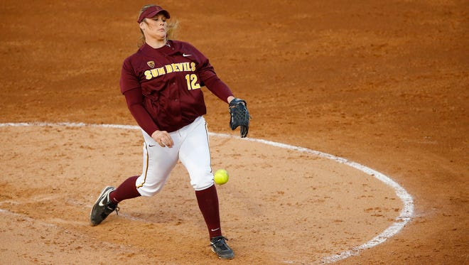Arizona State starting pitcher Dallas Escobedo (12) throws against UCLA in their NCAA softball game Friday, May 9, 2014 in Tempe, Arizona.