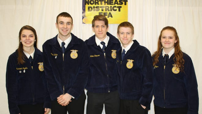Members taking the Chapter Quiz at districts: Machaela Ingalls, Tate Kettler, Nathan Simpson, Will Schmidt and Mia Meyer.