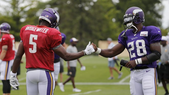 Minnesota Vikings quarterback Teddy Bridgewater (5) and running back Adrian Peterson shake hands Tuesday during the first practice in full pads at an NFL training camp on the campus of Minnesota State-Mankato in Mankato.