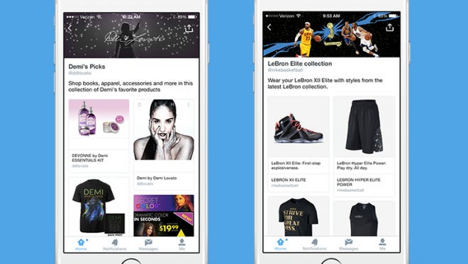 Twitter is rolling out new product and places pages as well as collections curated by celebrities and brands such as Demi Lovato and Nike.