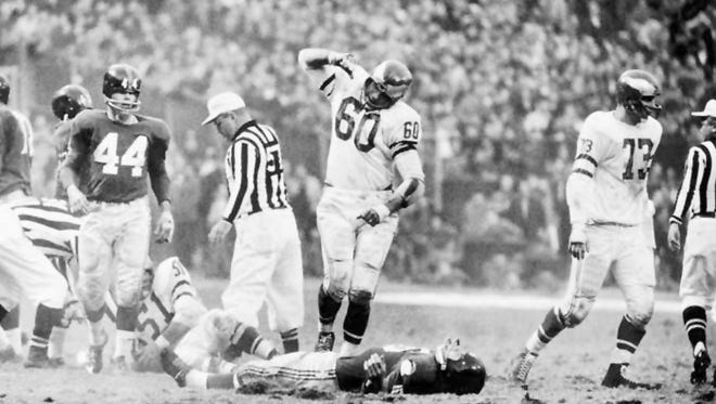 Eagles linebacker Chuck Bednarik after his hit on the Giants Frank Gifford in 1960.