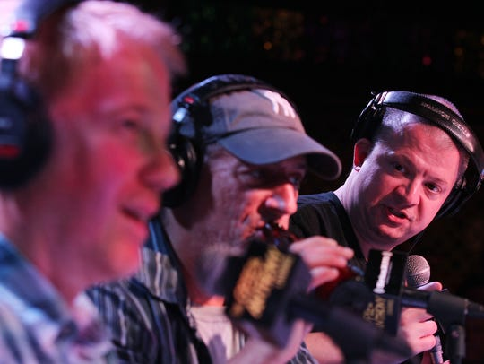 "Gregg ""Opie"" Hughes, Anthony Cumia and Jim Norton broadcasting"