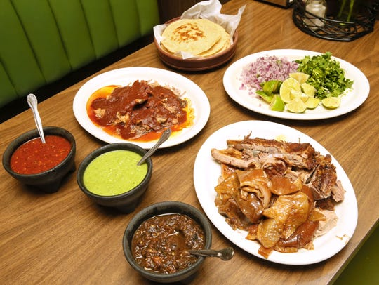 At Don Lucho, some group-serving portions of lamb (left