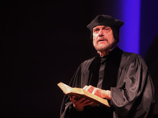"""Dressed as Martin Luther, Clarence """"Bud"""" Bence, a historian at Indiana Wesleyan University, delivers a monologue in character at Southern Wesleyan University in Center, South Carolina, in October."""