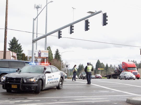A city of Salem EMS Falk Paramedic Unit ambulance was traveling southbound when it was hit by a Ford pickup traveling eastbound that failed to yield on Monday, Jan. 22, 2018.