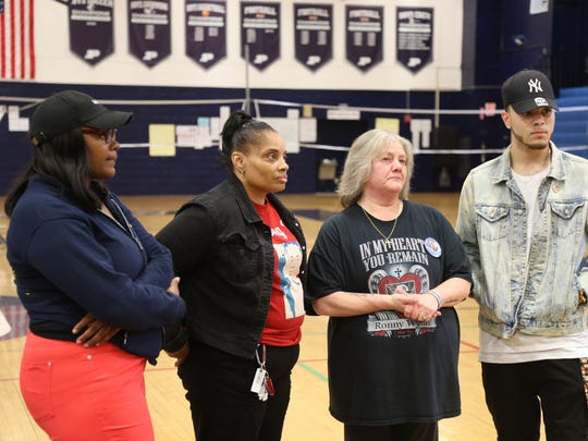 From left, Cavasha Haylett Cathis Johnson, Brenda Taddeo-Anderson and Dallas J. Wynn at Poughkeepsie High School on May 16, 2018.
