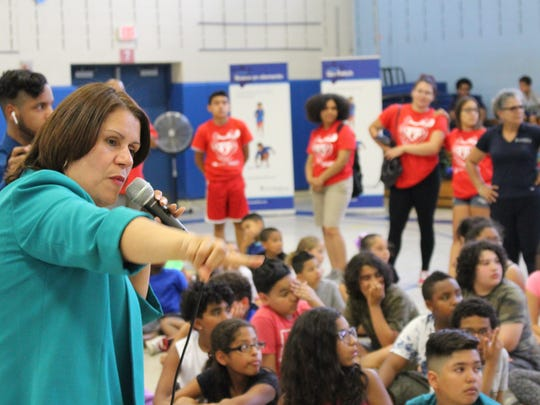 Mayor Wilda Diaz announced the expansion of the City's Summer Food Program with fitness and wellness initiatives on July 12 at James J. Flynn School, 850 Chamberlain Avenue.