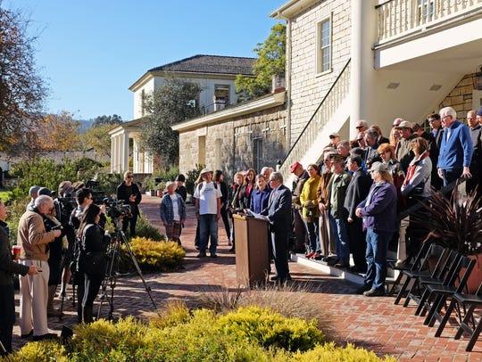 At Colton Hall in Monterey, Senator Bill Monning announces