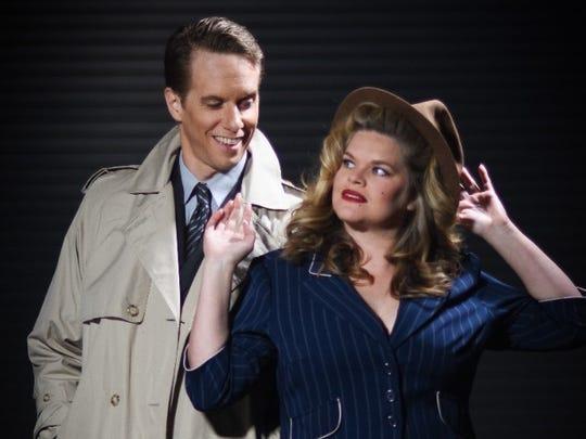 "David Dickinson and Kim Richard in A/C Theatre Company's ""Gunmetal Blues."""
