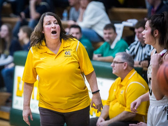 FILE -- Current Yorktown head coach Leigh Ann Barga calls a timeout during Monroe Central's game against Madison-Grant at Eastern High School Saturday, Feb. 11, 2017. Barga is in her first season as head coach for the Tigers after spending the previous nine at Monroe Central.