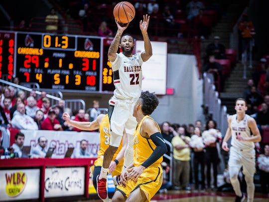 Ball State's Jeremie Tyler shoots against Valparaiso at Worthen Arena Saturday, Dec. 9, 2017.