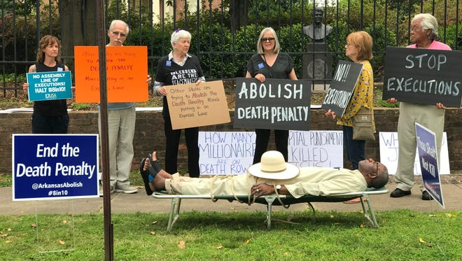 An anti-death penalty demonstration outside the Governor's Mansion in Little Rock, Ark.