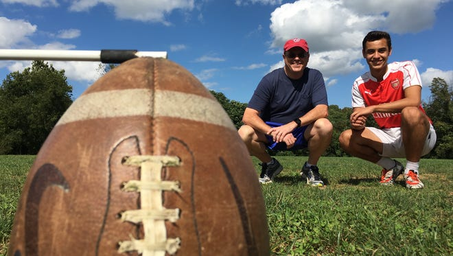 Robert E. Lee junior Marcos Sasia, right, teaches The News Leader's Patrick Hite how to kick an extra point on this week's Patrick Tries.