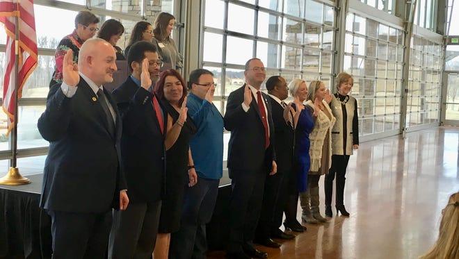 Randy Whetsell, Mercy Neysmith, Marion Jewell, Syd Hedrick, Charles Pecka, Eric Boyd, Melissa Powers, Kim Weyrauch, Debbie Reynolds being installed as 2018 Board of Directors.