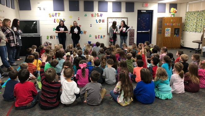 Staff from Petkovich Family Dentistry make a presentation to Mountain Home Kindergarten students on Friday afternoon.