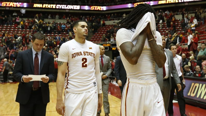 Iowa State forward Abdel Nader (2) and Iowa State forward Jameel McKay (right) walk off the court Saturday, Jan. 9, 2016 during their 94-89 loss to Baylor at Hilton Coliseum in Ames.