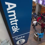 An Amtrak sign at Union Station in Washington.