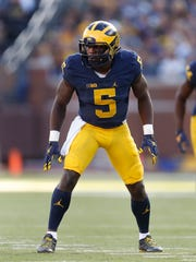 Michigan linebacker Jabrill Peppers lining up against  Maryland this season.
