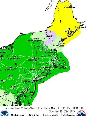 High winds are expected to sweep through Delaware late Monday as rain tapers off.