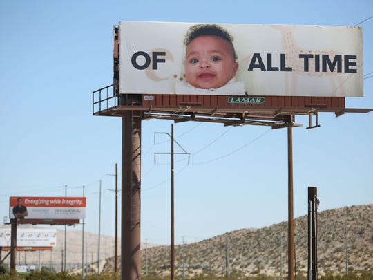 A billboard tribute to Serena William's motherhood on the I-10 Interstate near Palm Springs, March 2, 2018.