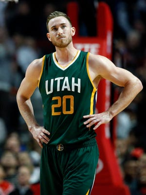 Utah Jazz guard/forward Gordon Hayward reacts after center Rudy Gobert called for his sixth and final foul during the second half of an NBA basketball game against the Chicago Bulls Saturday, March 18, 2017, in Chicago. The Bulls won 95-86.
