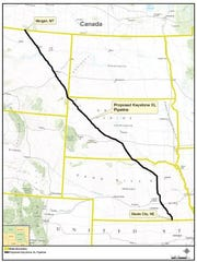 The route of the proposed Keystone XL Pipeline.