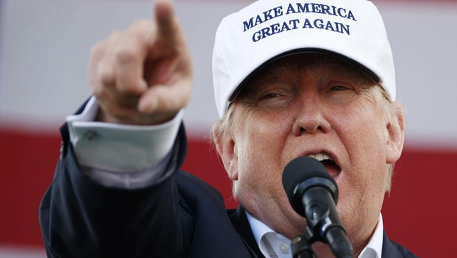 Republican presidential candidate Donald Trump speaks during a campaign rally Wednesday in Miami.