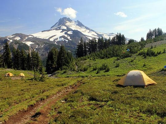 This picture shows tents pitched on the fragile vegetation of Jefferson Park, which cause ecological damage. These types of campsites are one reason the Forest Service visitors will need to get a permit to camp at Jefferson Park in the future.