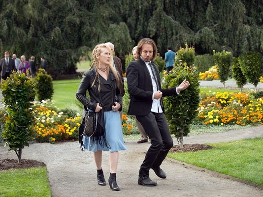 "This photo provided by courtesy of Sony Pictures shows, Meryl Streep, left, as Ricki, and Rick Springfield, as Greg, in TriStar Pictures' ""Ricki and the Flash."" The movie opens in U.S. theaters on Aug. 7, 2015. (Bob Vergara/Sony Pictures via AP)"