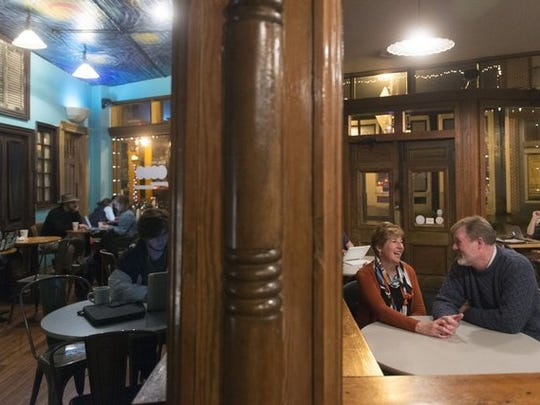 Steve and Lisa Skinner spends part of an evening at Old City Java. The two are selling their home in Powell to move into the Marble Alley Lofts in downtown Knoxville.