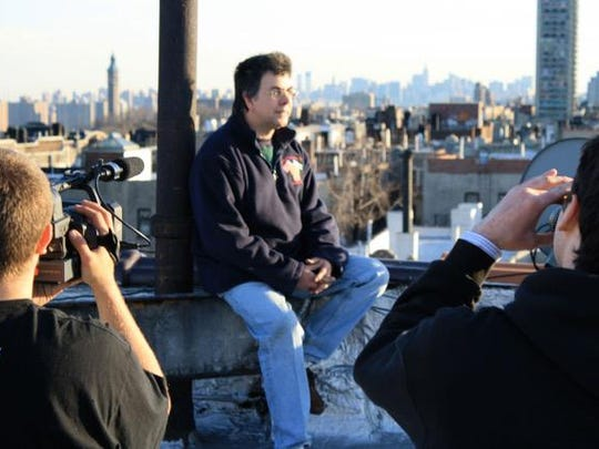 Los Angeles director Roger Gastman shared this photo of an interview for Wall Writers.