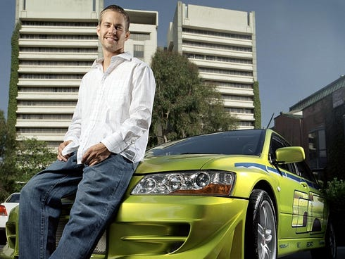 Paul Walker poses with the car that he drove in 2003'3