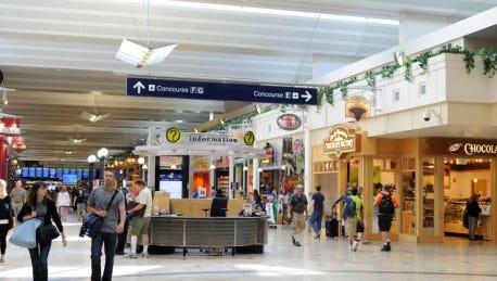 Passengers walking or shopping in stores at Minneapolis - Saint Paul International Airport. Minneapolis - Saint Paul International Airport.