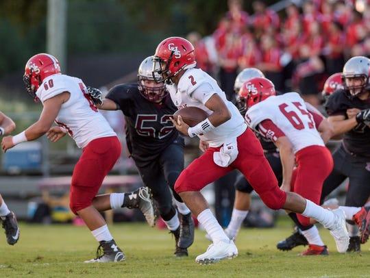 Catholic High quarterback Diallo Landry (2) is primed
