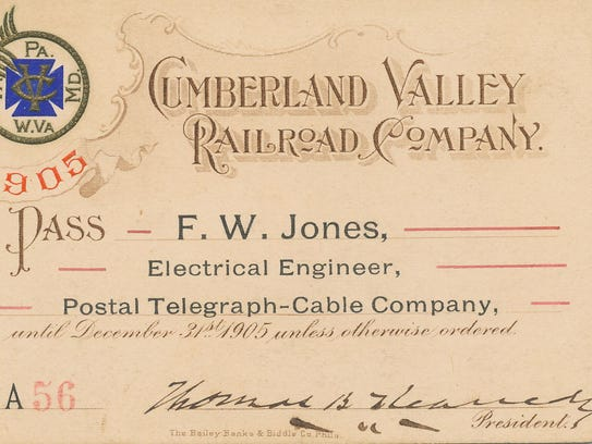 Railroad pass signed by T.B. Kennedy, president of