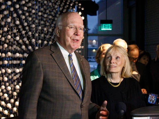 Sen. Patrick Leahy, D-Vt., and his wife, Marcelle, attend the opening of ECHO's Lake Brite data visualization project on Dec. 29. Leahy was instrumental in sponsoring the project.