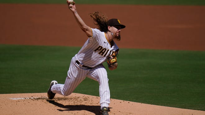 Padres starting pitcher Mike Clevinger was pulled Wednesday after pitching the first inning against the Angels.