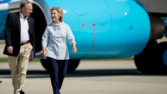 Hillary Clinton and Tim Kaine in Cleveland on Sept.