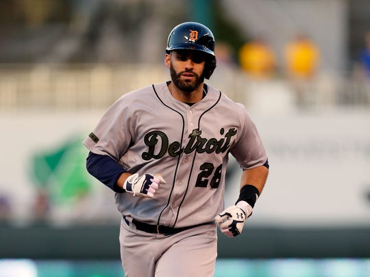 Tigers rightfielder J.D. Martinez rounds the bases