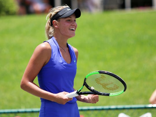 Sofya Zhuk reacts to winning the tiebreaker in the second set of the Svetlana Kuznetsova Cup Series Singles Final at the Academia Sánchez-Casal in Naples on Sunday, May 21, 2017. Zhuk won the title after defeating Atlanta's Taylor Townsend in two sets.