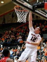 Freshman forward Drew Eubanks had a team-high 16 points and five blocked shots in OSU's exhibition game victory over Western Oregon last week.